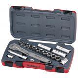 """18-elementowy zestaw narzędzi nasadowych nierdzewnych z chwytem kwadratowym 1/2"""". Teng Tools TS1218"""