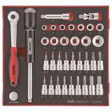 """36-elementowy zestaw narzędzi nasadkowych z chwytem kwadratowym 3/8"""" Teng Tools TED3836"""